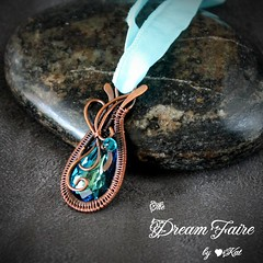 Electric Daydream - Swarovski Teardrop and Woven Copper Wire Necklace