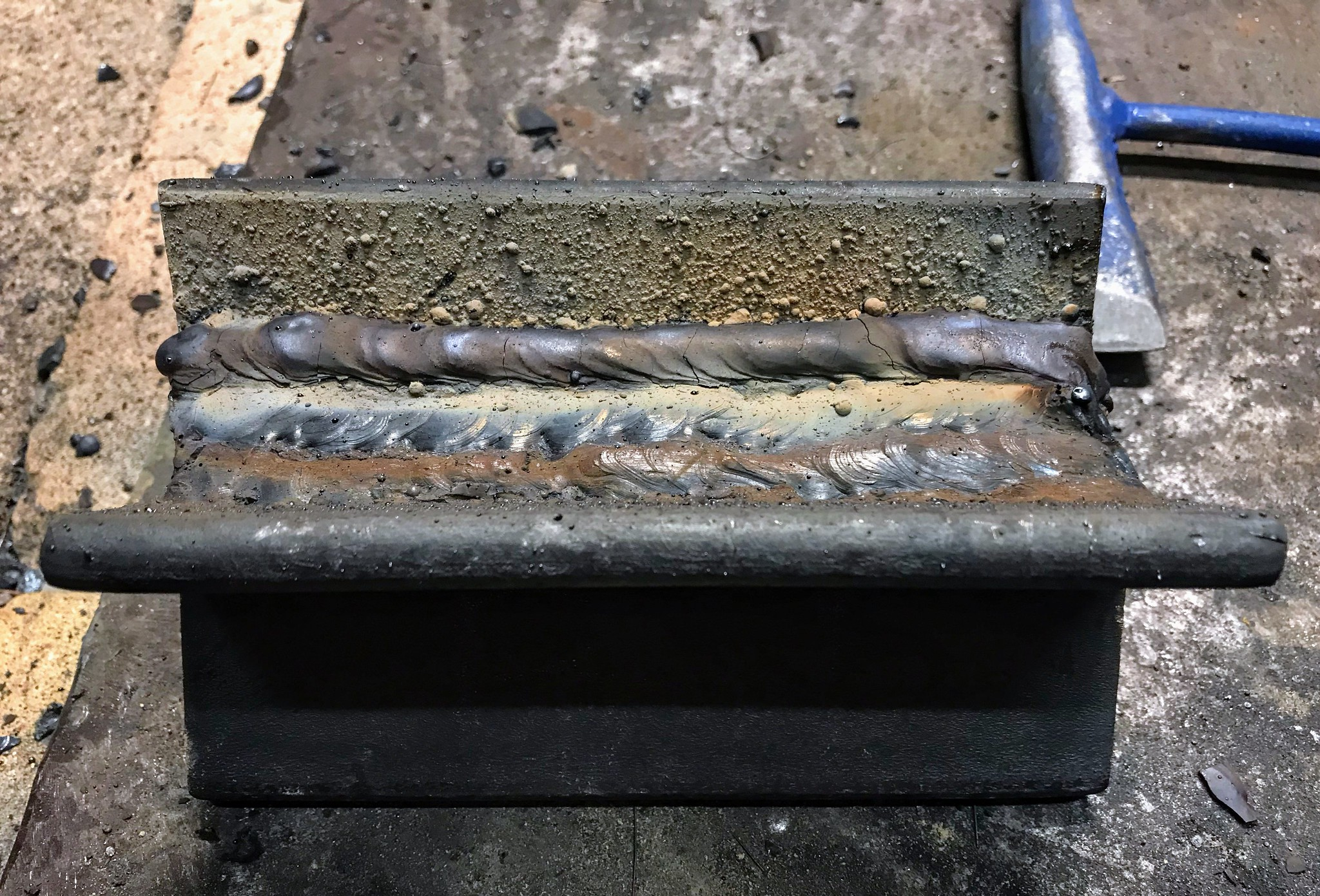 Weld covered in slag