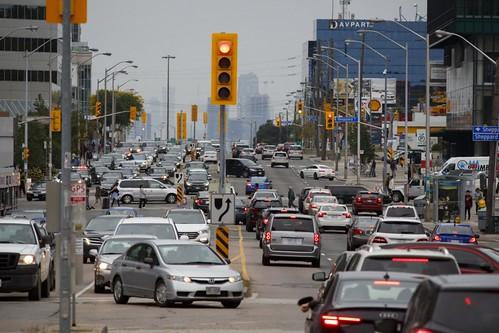 A car engorged Yonge Street in Toronto