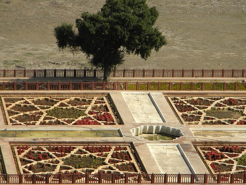 Formal Garden at the Amber Fort and Palace near Jaipur in India