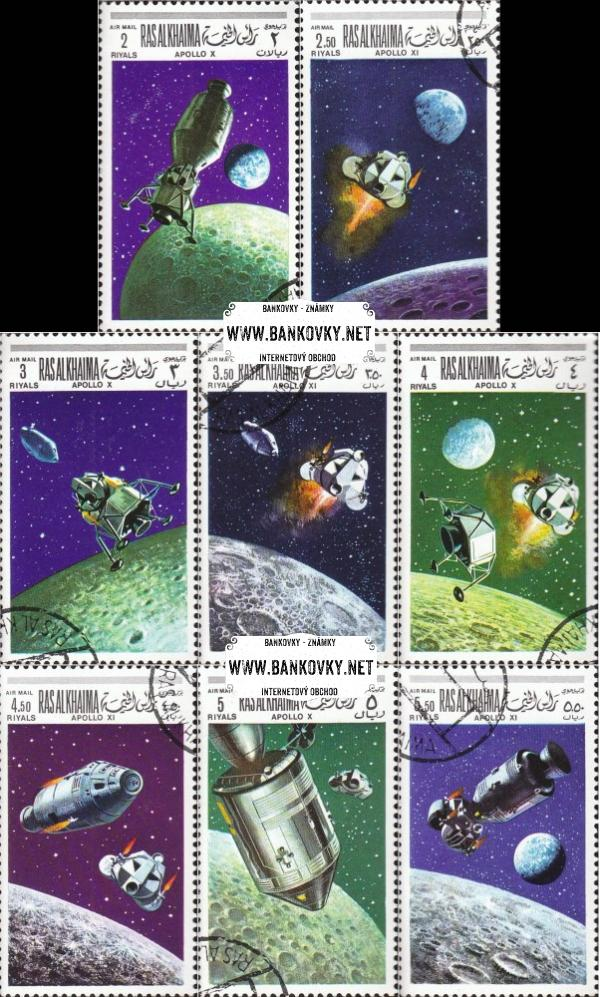 Známky Ras Al Khaimah 1969 Vesmírny program, razítkovaná séria