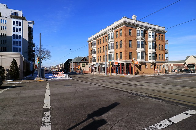 Milwaukee Streetcar tracks at North Van Buren and East Ogden