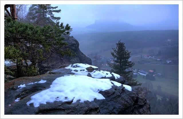 Endlich Schnee im Elbsandsteingebirge...