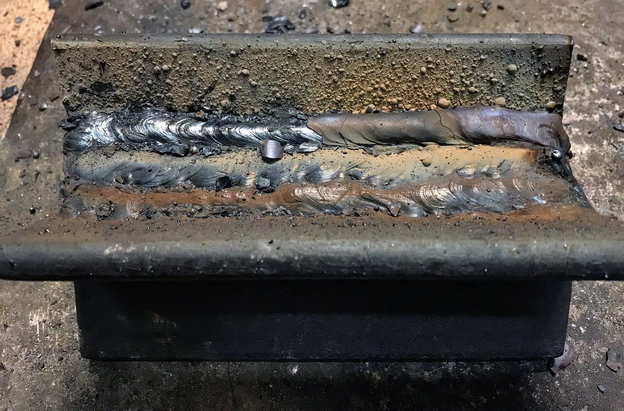 Weld partially cleaned