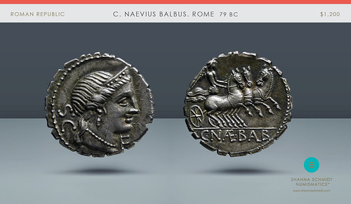 ROMAN REPUBLIC, C. Naevius Balbus Serrate Denarius