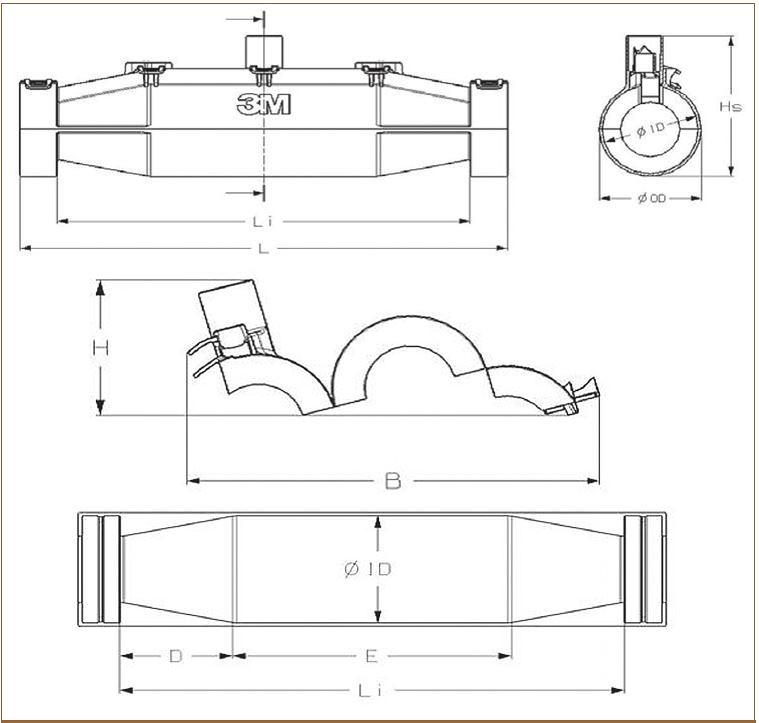 Рис. 12. Геометрические размеры муфт серии 3M Scotchcast 91-NBA