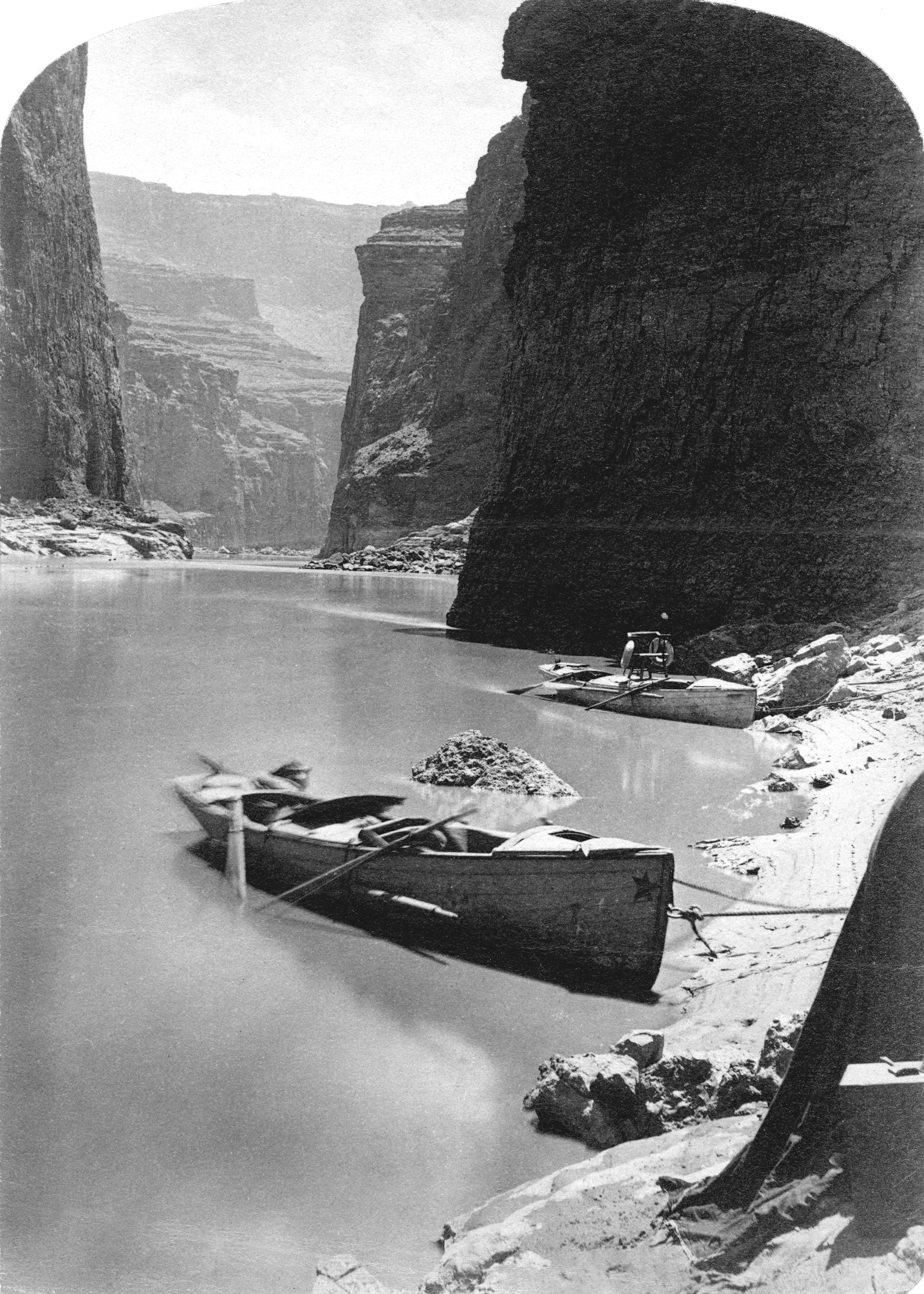 'Noon Day Rest in Marble Canyon' from the second Powell Expedition, circa 1872
