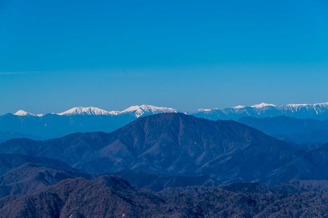 聖岳・赤石岳・悪沢岳・塩見岳@檜洞丸西側