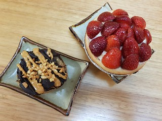Peanut Butter Cup from Bliss & Co, and Strawberry Flan from Flour of Life at Brisbane Vegan Markets