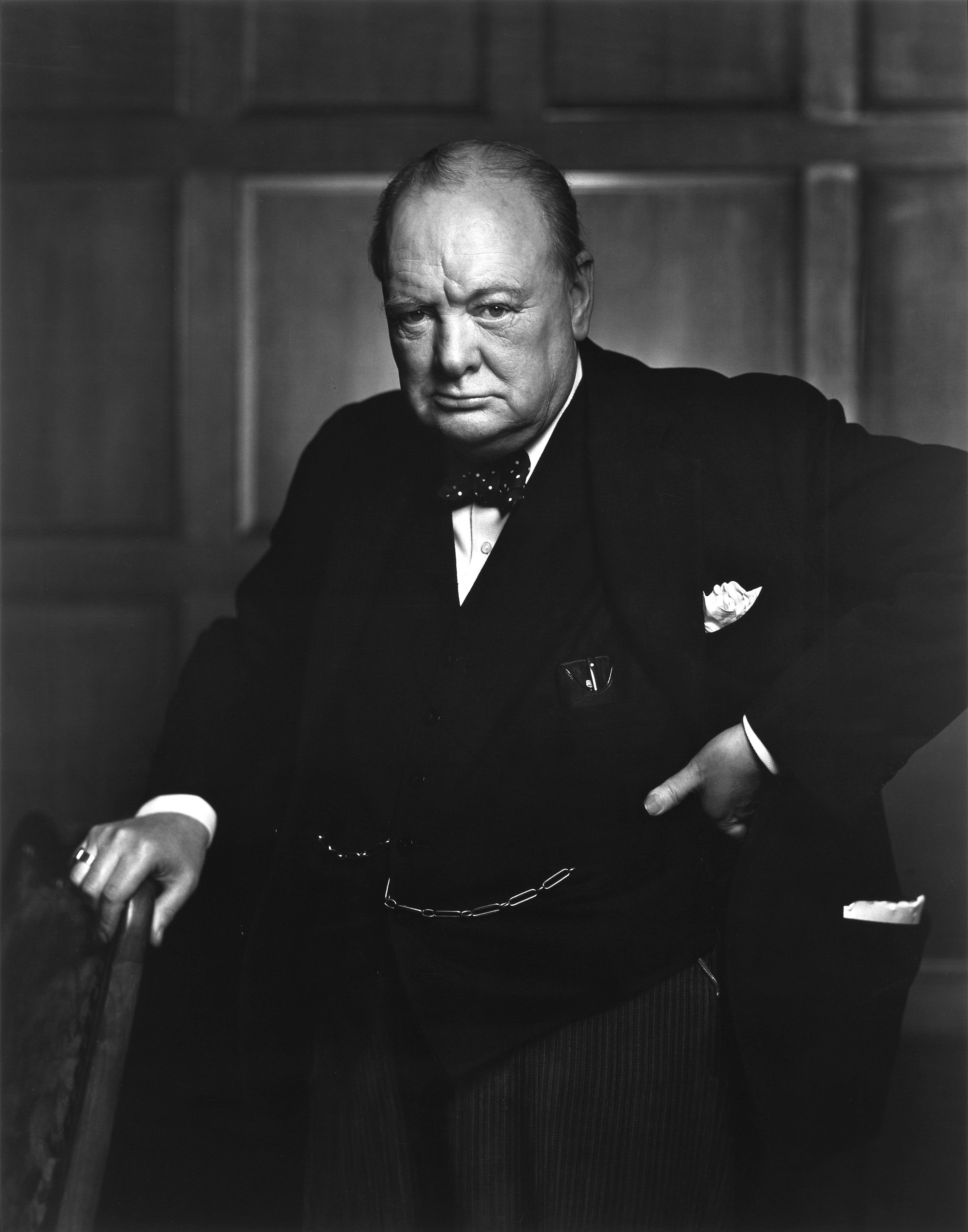Winston Churchill in the Canadian Parliament, December 1941 by Yousuf Karsh