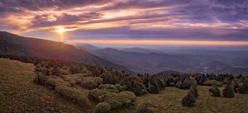 Sunset from a drones view Roan Mountain