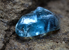 Blue Zircon Crystal Macro
