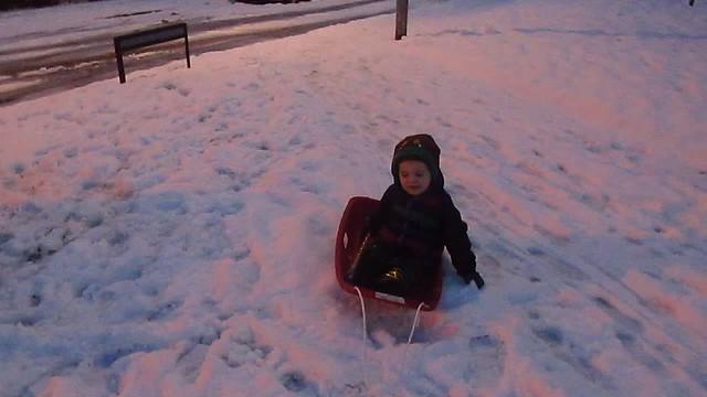 Caleb: Sledding