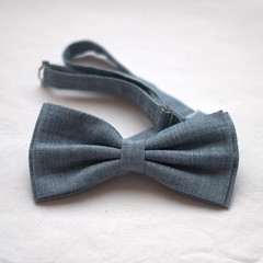 Light blue recycled denim bow-tie