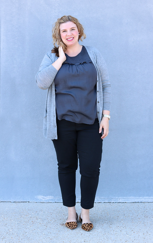 gray cardigan, gray shell, black pencil pants, leopard flats 3
