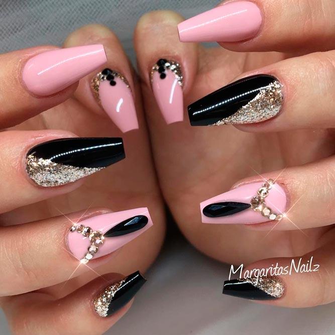 24 trendy black acrylic nails art designs nails c black acrylic nails art prinsesfo Choice Image