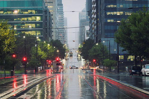 City Street In Pouring Rain