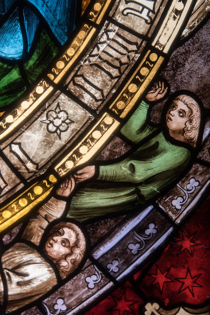 Détail d'un vitrail de l'Adoration des mages (Allemagne du sud, c. 1400) — musée du Louvre (Paris, France)