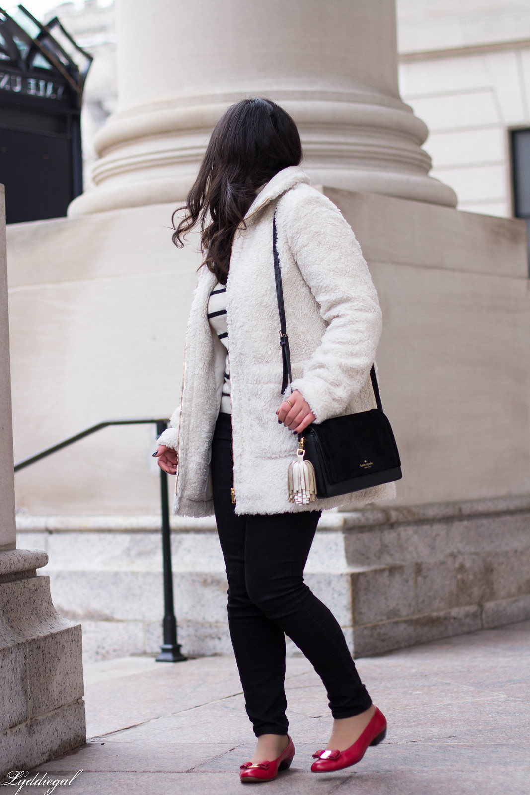 loft teddy bear coat, striped sweater, black jeans, red ferragamo flats-20.jpg