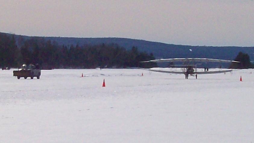 Silver Dart replica centennial flight at Baddeck Bay, Nova Scotia. Photo taken on February 22, 2009.