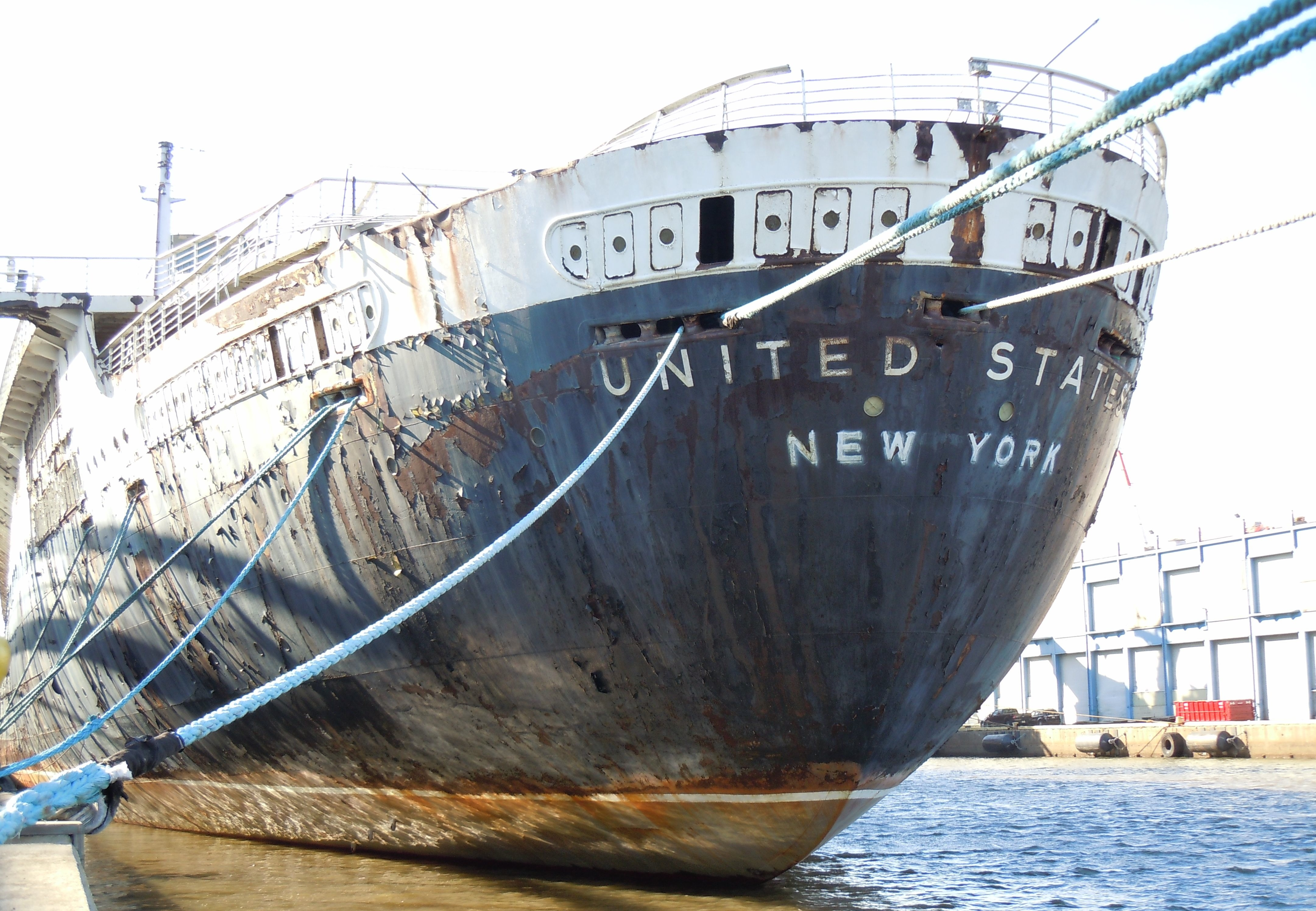 Stern of SS United States in Philadelphia, Pennsylvania. Photo taken on March 15, 2014.