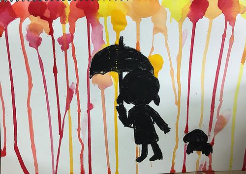 오색 봄비 - 수채화 물감 흘리기