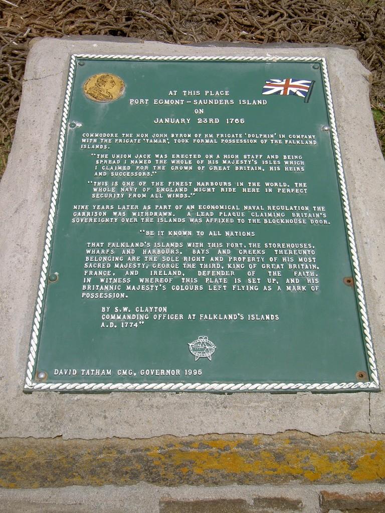 Plaque at site of Port Egmont, Falkland Islands. Photo taken on November 26, 2005