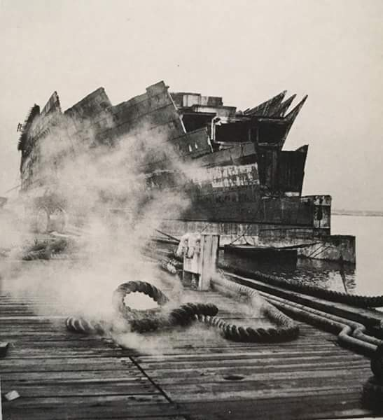 The scrapping of Lafayette, formerly SS Normandie, in Port Newark, New Jersey, circa 1947-1948