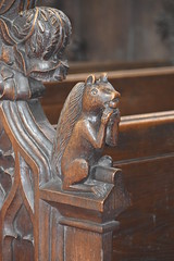 bench end: squirrel eating an acorn (Henry Ringham, C1860)