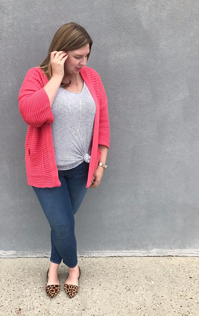 pink kimono cardigan, stripe tank, skinny jeans, leopard flats 2