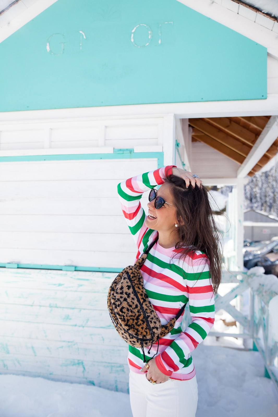 LOOK JERSEY RAYAS MULTICOLOR theguestgirl supreme bag leopardo trend alert brand riñonera en tendencia look avance primavera verano rosa y rojo inspiración look