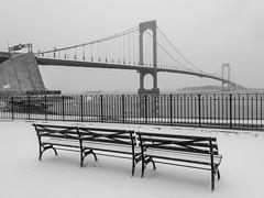 Benches And Whitestone Bridge In Snow; Queens, New York