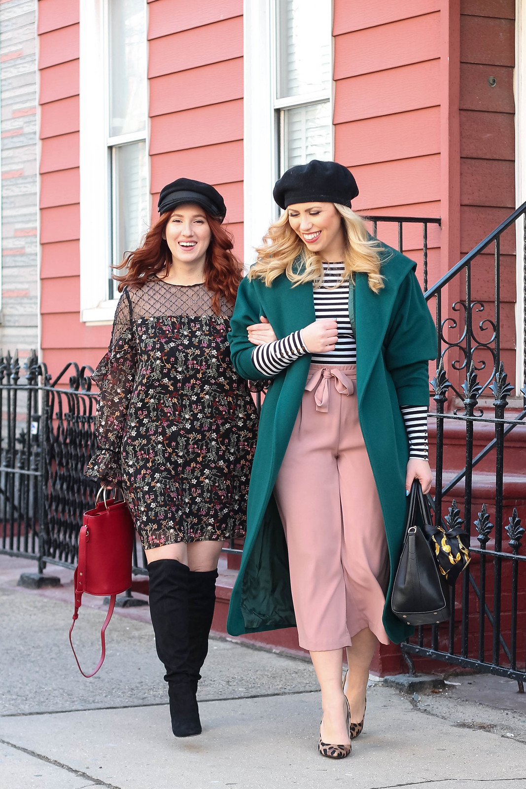 Vintage New York Winter Style Baker Boy Hat Floral Dress Outfit Black Beret Emerald Coat Striped Shirt Pink Culottes Look What's Old is New Again! These Trends are BACK!