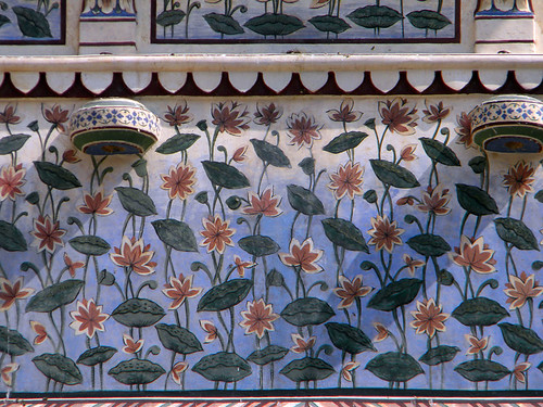 Decorative painted walls at Hara Mahal, the Palace of the Winds in Jaipur India