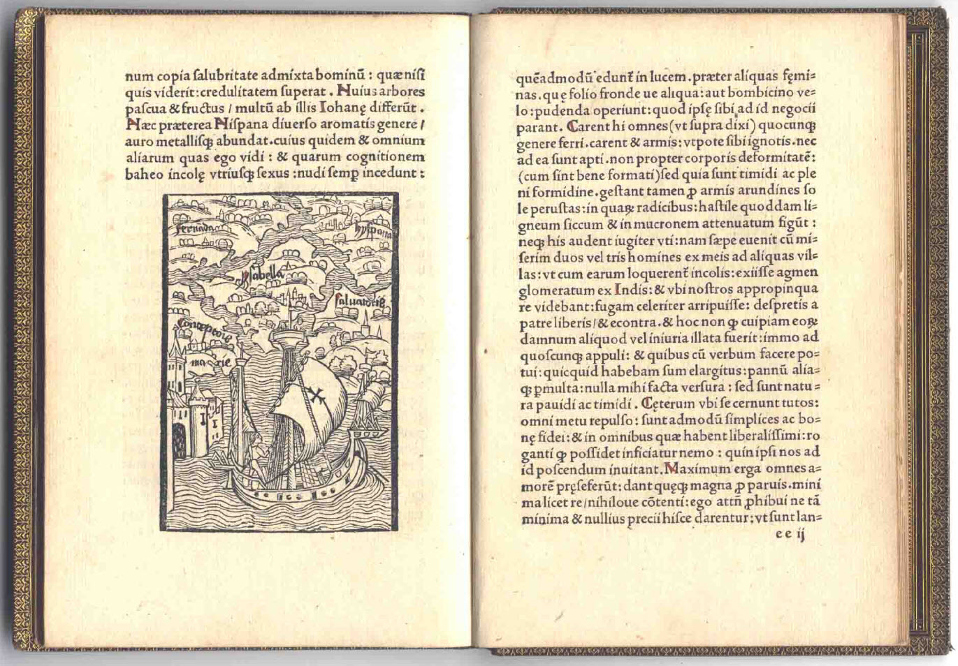 The left page depicts the six islands of the Indies in a woodcut from the 1494 Basel edition of Columbus's letter