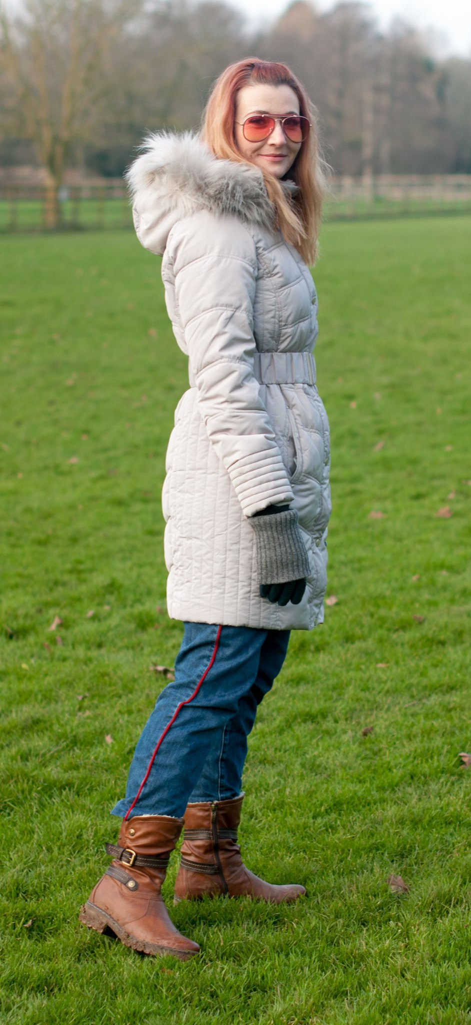A Warm and Stylish Winter Coat - Grey Puffer With Faux Fur Hood | Not Dressed As Lamb, Over 40 Style