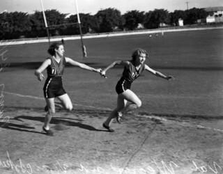 Runners in a relay race, Brisbane, 24 June 1939