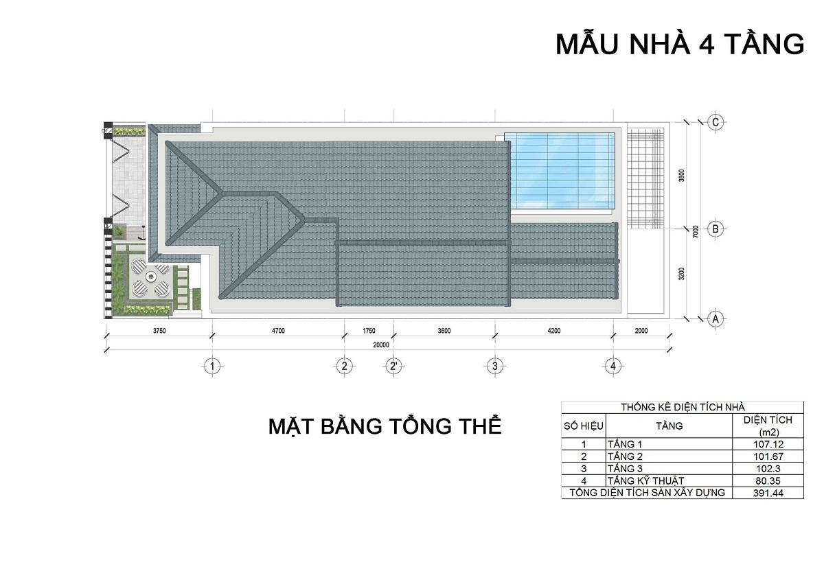 Mặt bằng tầng mái biệt thự 4 tầng thuộc các lô LK3, LK4, LK5 biệt thự Hưng Phát Green Star.