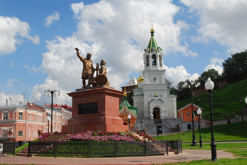 The Monument to Minin and Pozharsky (Па́мятник Ми́нину и Пожа́рскому) is a bronze statue on Red Square in Moscow, Russia, in front of Saint Basil's Cathedral. The statue commemorates Prince Dmitry Pozharsky and Kuzma Minin, who gathered an all-Russian volunteer army and expelled the forces of the Polish-Lithuanian Commonwealth under the command of King Sigismund III of Poland from Moscow, thus putting an end to the Time of Troubles in 1612. The monument was completed in 1818.