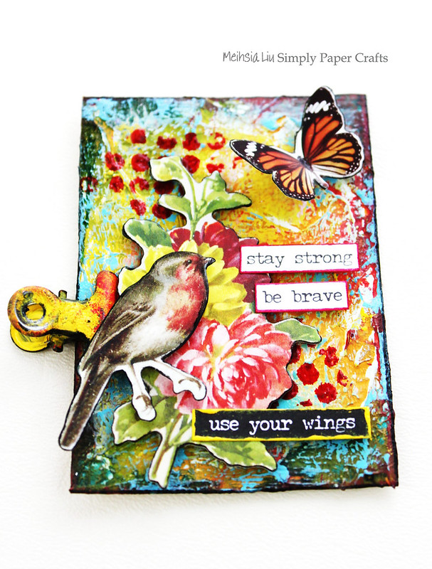 Meihsia Liu Simply Paper Crafts Mixed Media ATC Resist Tim Holtz Simon Says Stamp Monday Challenge 1