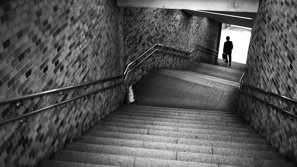 Stairs to subway - Tokyo, Japan - Black and white street photography