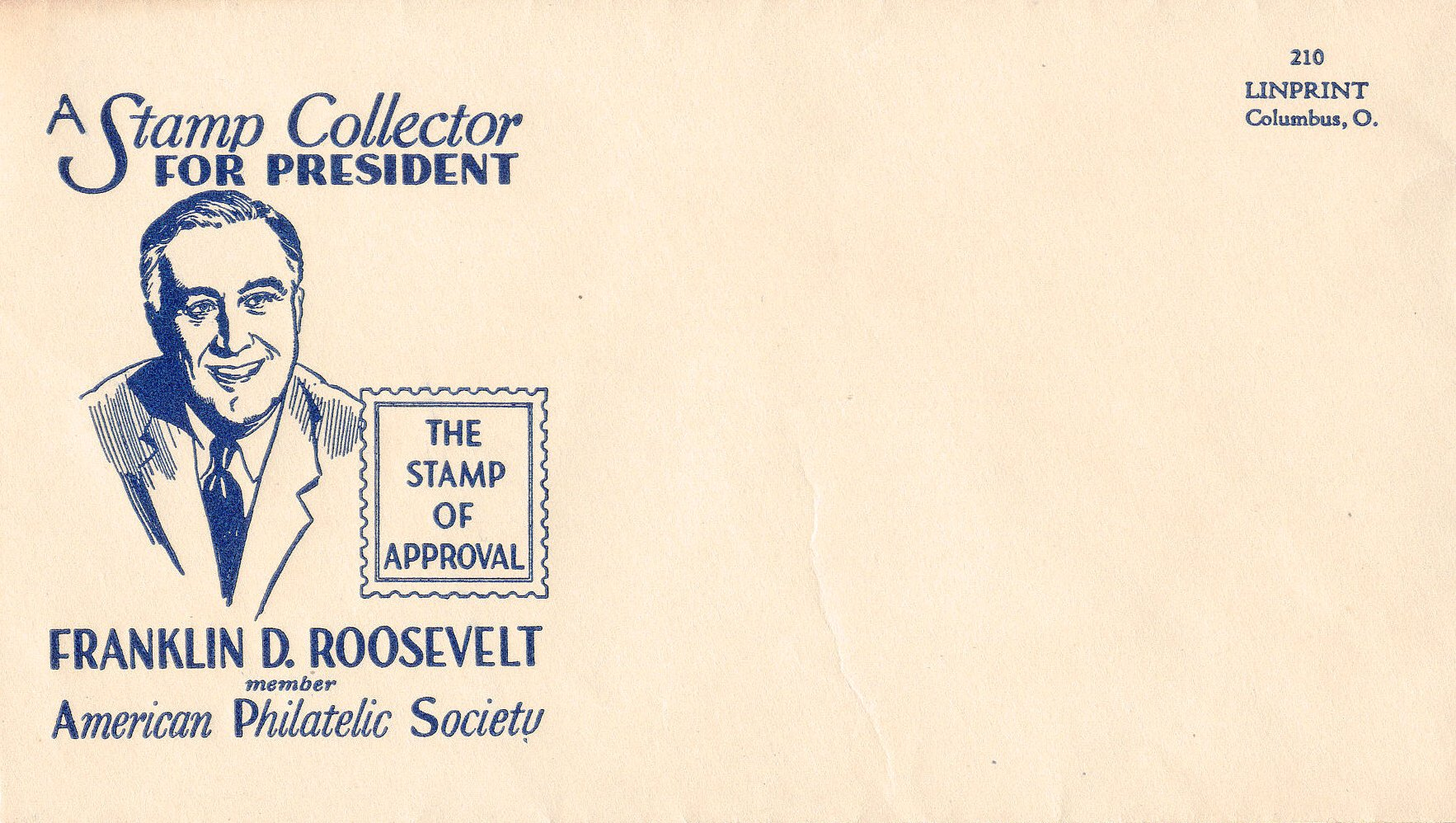 George W. Linn, publisher of the weekly philatelic newspaper Linn's Stamp News, created stamp-like labels and cacheted envelopes encouraging stamp collectors to vote for a fellow philatelist for President in the 1932 election.