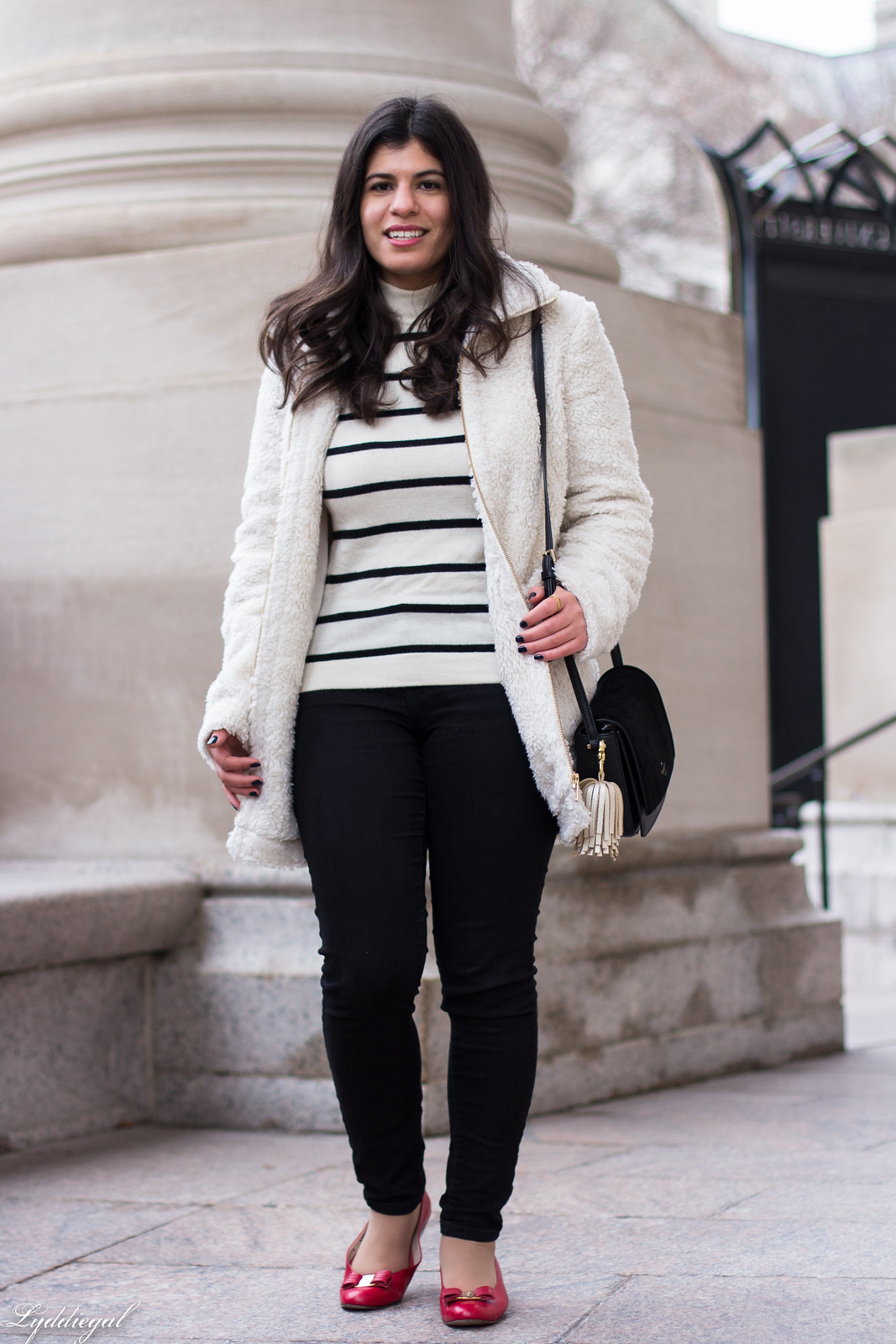 loft teddy bear coat, striped sweater, black jeans, red ferragamo flats-22.jpg