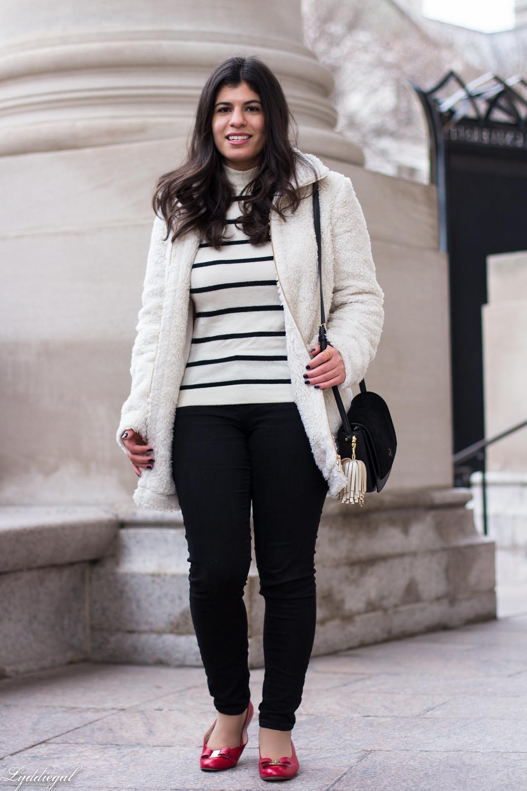 loft teddy bear coat, striped sweater, black jeans, red ferragamo flats-22.jpg