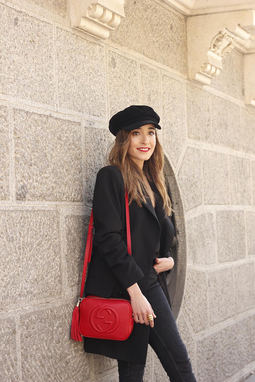 black blazer bicolor boots uterqüe gucci bag gucci belt navy cap style fashion winter outfit15