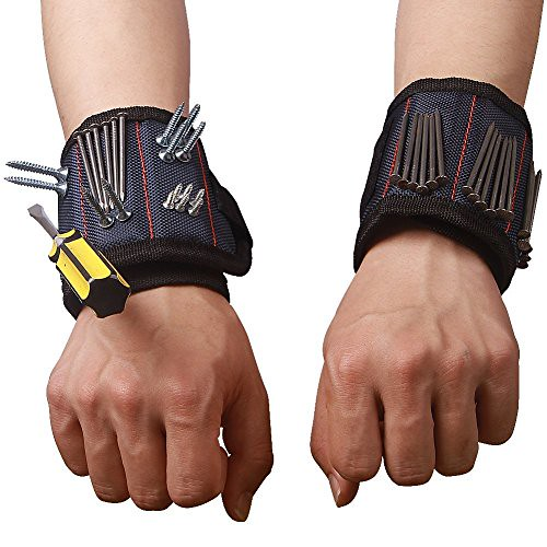 Durable Multi-purpose Magnetic Wristband with Strong Magnets For Holding Screws Nails Bolts Drilling Bits Screws and Small Tools The Best Tool Gift for DIY Handyman Men Women HSZ-12, 4 Packs - DiZiWoods Store