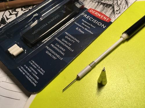 Derwent Precision mechanical pencil and Concept Brush Tip pen