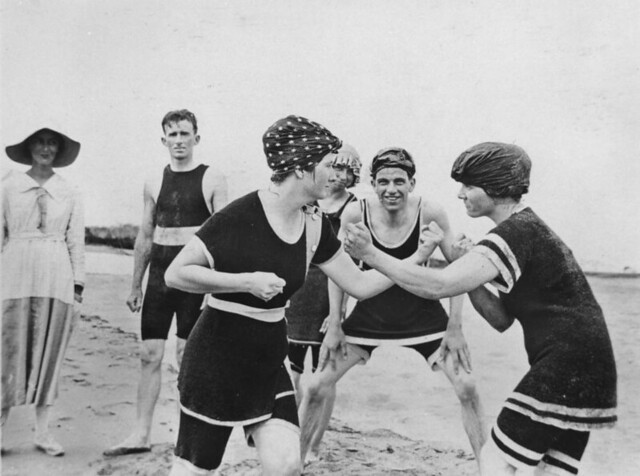 Ladies boxing at the beach