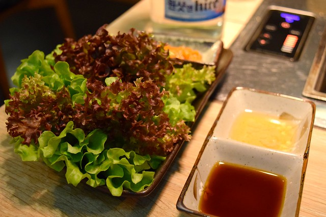 Lettuce, Miso & Dipping Sauces at SuperStar Korean Barbecue