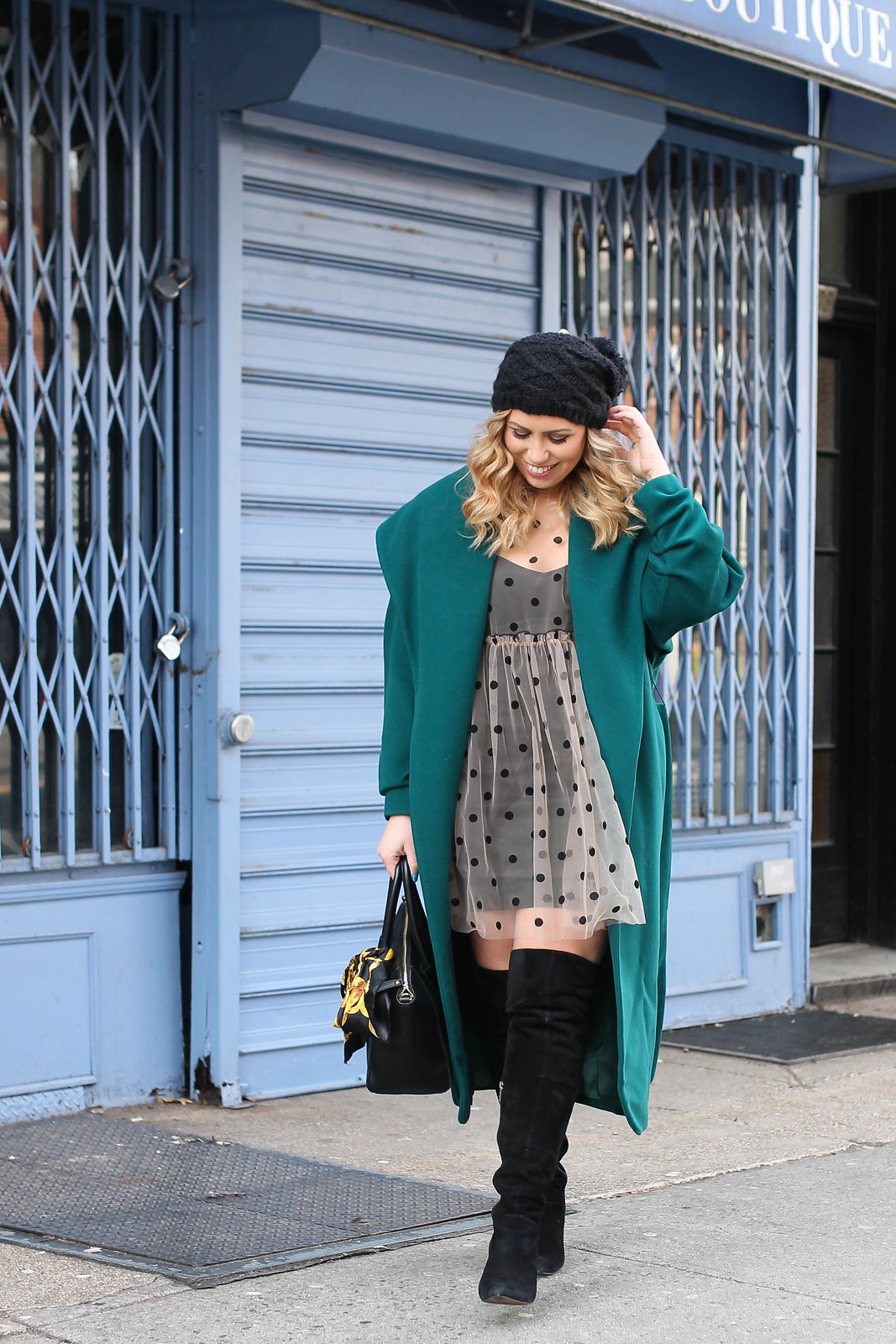 Green Winter Outfit Emerald Long Coat ASOS Sheer Polka Dot Dress Black OTK Suede Boots